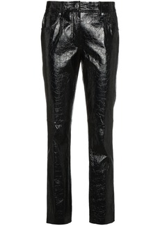 Helmut Lang leather mid rise cropped trousers - Black