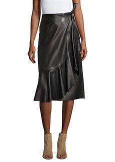 Helmut Lang Leather Ruffle A-Line Midi Skirt
