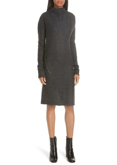 Helmut Lang Leather Trim Wool Blend Dress
