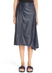 Helmut Lang Leather Wrap Midi Skirt