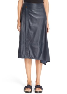 Helmut Lang Leather Wrap Midi Skirt