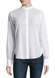 Helmut Lang Long-Bishop-Sleeve Voile Blouse