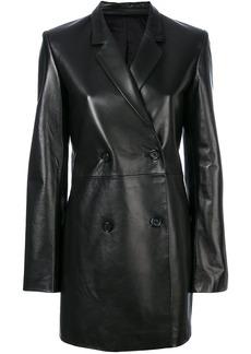 Helmut Lang long line leather blazer - Black