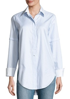 Helmut Lang Long-Sleeve Convertible Striped Poplin Shirt