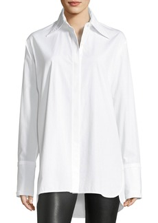 Helmut Lang Long-Sleeve Cotton Poplin Shirt with Cutout Back