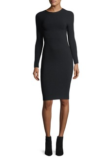 Helmut Lang Long-Sleeve Crewneck Tieback Fitted Dress