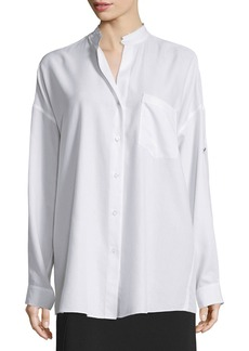 Helmut Lang Long-Sleeve Open-Back Poplin Blouse