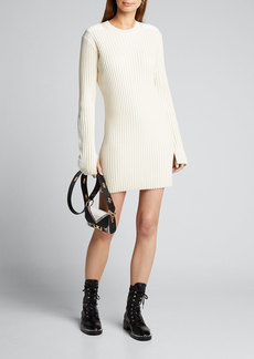 Helmut Lang Long-Sleeve Ribbed Patch Dress