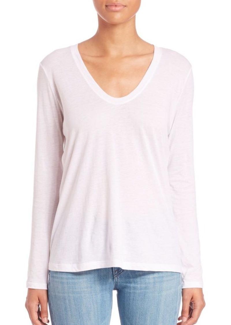 Helmut Lang Long Sleeve Scoopneck Cotton & Cashmere T-Shirt
