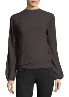 Helmut Lang Low-Back Long-Sleeve Draped Top