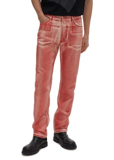 Helmut Lang Masc Hi Straight Fit Jeans in Red Volcano Lacquer
