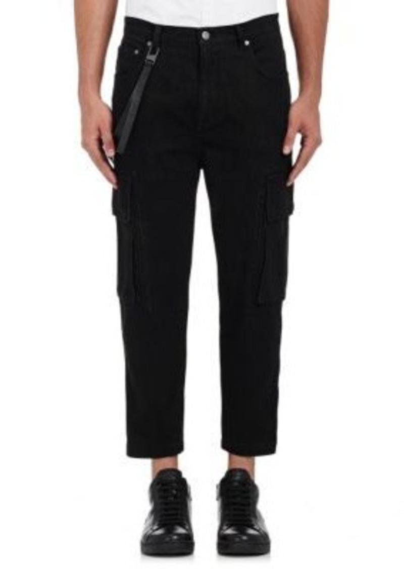 Helmut Lang Men's Crop Cargo Jeans-Black Size 30