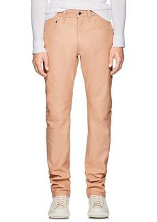 Helmut Lang Men's Leather High-Rise Straight-Leg Jeans