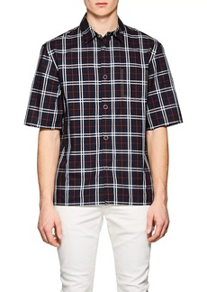 Helmut Lang Men's Plaid Cotton Short Sleeve Shirt