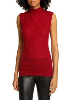 Helmut Lang Merino Wool Blend Mock Neck Top