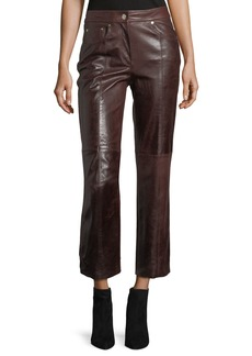Helmut Lang Mid-Rise Cropped Straight-Leg Leather Pants