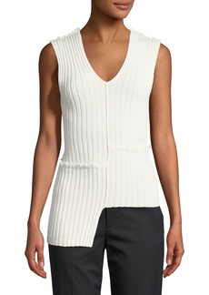 Helmut Lang Mismatched Ribbed Tank w/ Ruffled Trim