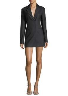 Helmut Lang Notched-Lapels Herringbone Blazer Dress