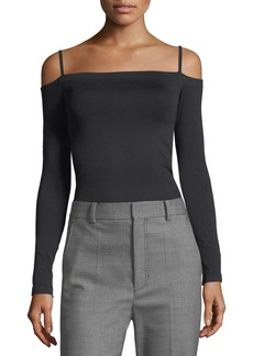 Helmut Lang Off-the-Shoulder Long-Sleeve Seamless Top