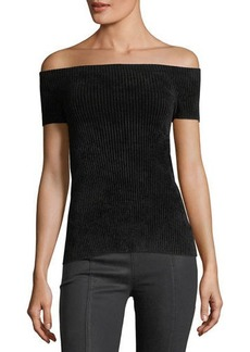 Helmut Lang Off-the-Shoulder Seamless Rib-Knit Top