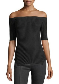 Helmut Lang Off-the-Shoulder Short-Sleeve Ribbed Silk Top