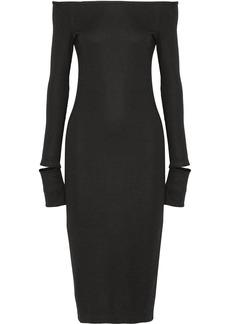 Helmut Lang Off-the-shoulder wool-blend dress