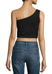 Helmut Lang One-Shoulder Cropped Stretch-Knit Bra  Top  Black