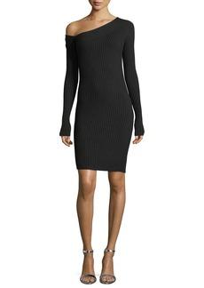 Helmut Lang One-Shoulder Long-Sleeve Ribbed Dress