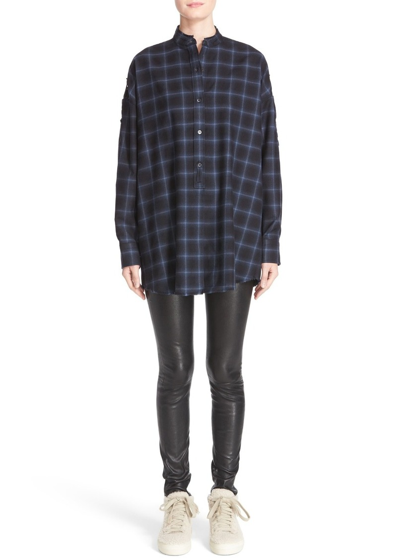 Helmut Lang Open Back Plaid Flannel Shirt