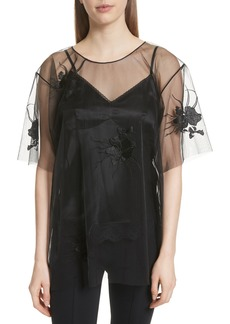 Helmut Lang Orchid Embroidered Mesh Top