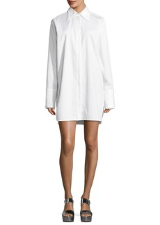 Helmut Lang Oversized Button-Front Long-Sleeve Poplin Shirtdress