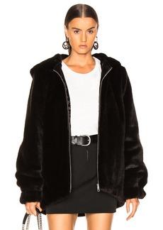 Helmut Lang Oversized Faux Mink Fur Bomber Jacket