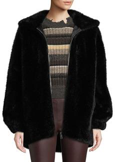 Helmut Lang Oversized Faux-Mink Hooded Bomber Jacket