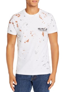 Helmut Lang Paint-Splattered Embroidered Logo Tee