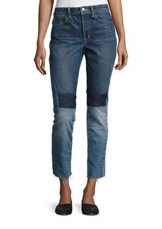 Helmut Lang Patchwork High-Rise Crop Slim Jeans
