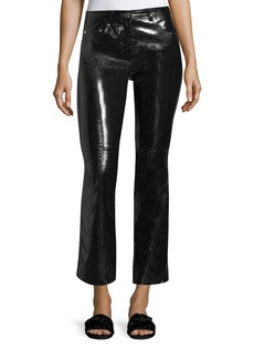 Helmut Lang Patent Leather Flared-Leg Crop Pants
