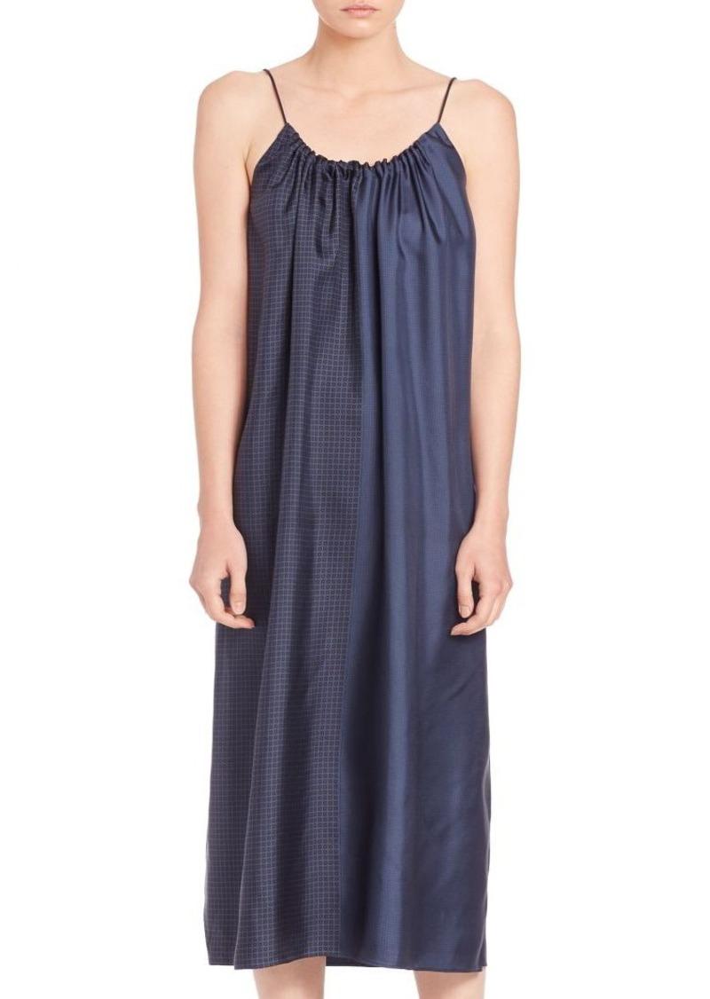 Helmut Lang Pieced Scarf Print Silk Dress