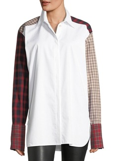 Helmut Lang Plaid-Patchwork Cotton Poplin Shirt