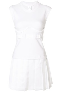 Helmut Lang pleated cap sleeve bustier dress - White