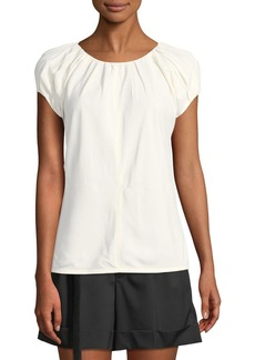Helmut Lang Pleated Cap-Sleeve Top