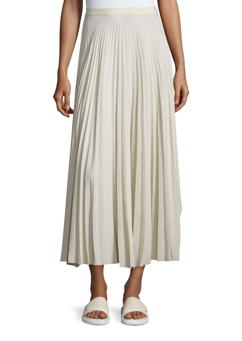Helmut Lang Pleated Chiffon High-Waist Midi Skirt