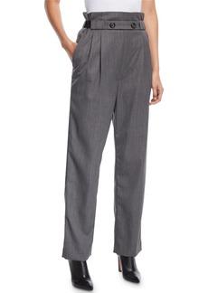 Helmut Lang Pleated Gabardine Wool Pull-On Pants