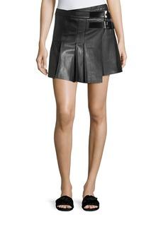 Helmut Lang Pleated Leather Buckle Mini Skirt
