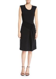 Helmut Lang Pleated Scoop-Neck Jersey Dress