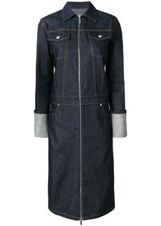 Helmut Lang raw denim trench coat - Blue