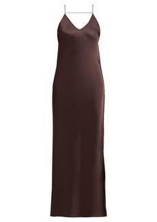 Helmut Lang Raw-edged satin slip dress
