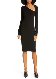 Helmut Lang Rib Asymmetrical Neck Long Sleeve Dress