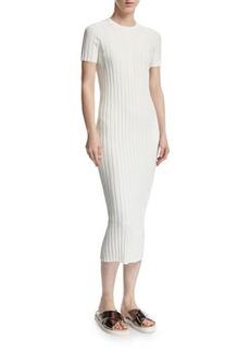 Helmut Lang Rib-Knit Button Midi Dress