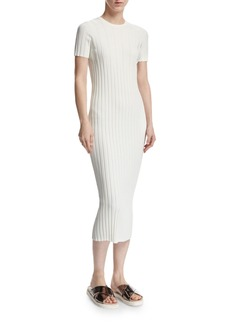 Helmut Lang Rib-Knit Button Midi Dress