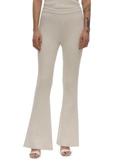 Helmut Lang Ribbed Cotton Blend Slub Knit Flare Pants